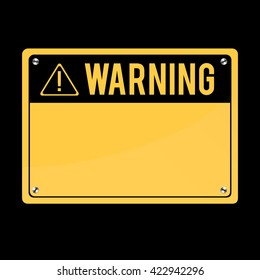 Warning Sign, vector. Flat Sign, Image.Art Print exclamation mark. Poster. announcement about the dangers. plate on the bolts.
