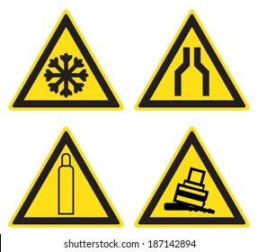 Warning signs - caution cold, narrowing passage, gas bottle, possible rollover (eps10)