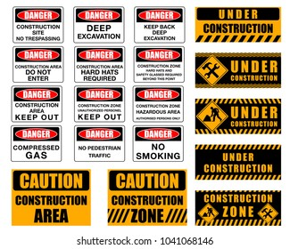 Warning signs and danger signs for construction sites.