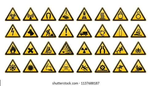 Warning signs large set. Big collection. Safety in workplace. Yellow triangle with black image. Vector illustration.