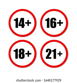 Warning signs. Set of age restriction signs in red circles. Age limit concept in white background.