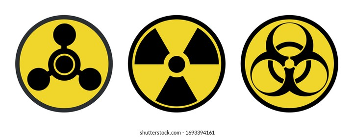 Warning signs, symbols. Danger, poison, biohazard, electricity, high voltage, chemical, waste, radioactive, explosion, bomb, flame, virus, toxic, warning, warning vector icon set