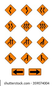 warning  signs, traffic signs vector set on white background