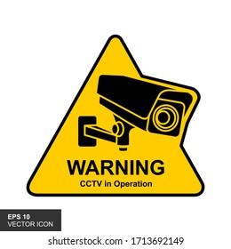 Warning Sticker for CCTV Camera Security Surveillance Alarm. Vector illustration.