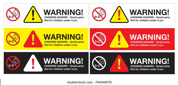 warning sticker, CHOKING HAZARD - Small parts. Not for children under 3 yrs. with logo