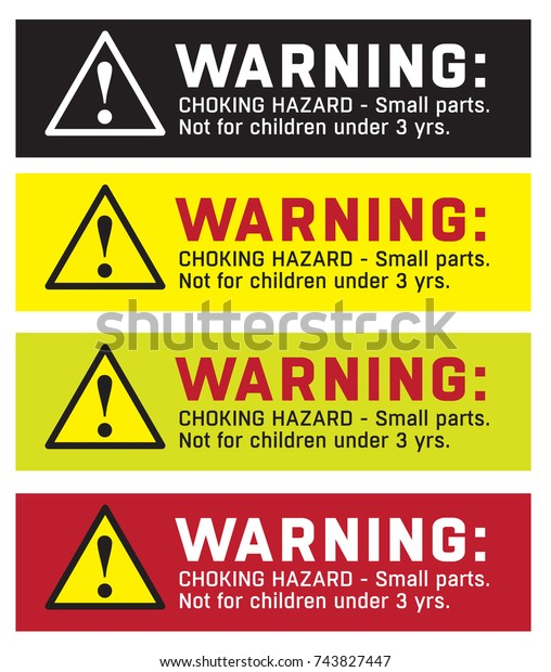 Warning Sticker Choking Hazard Small Parts 库存矢量图(免版税)743827447