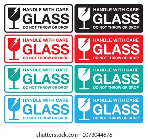 Warning sticker glass handle with care, do not throw or drop, Vector EPS 10