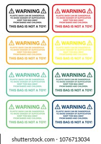 Warning Sticker-Plastic bags can be dangerous. To avoid danger of suffocation keep this bag away from babies and children. THIS BAG IS NOT A TOY! Vector EPS 10