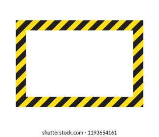 Warning striped frame, warning to be careful, potential danger, yellow & black stripes on the diagonal, vector template sign border yellow and black color. Construction warning border