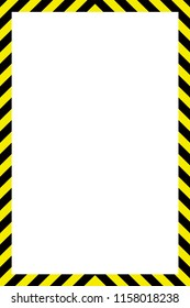 Warning striped rectangular background, yellow and black stripes on the diagonal, a warning to be careful.Under construction concept background. Warning tape frame on yellow background with copy space