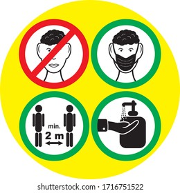 Warning symbols, covering the face, spacing, hand disinfection