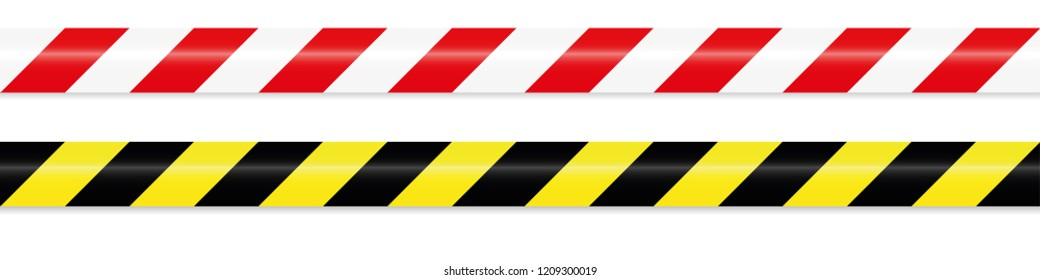 warning tape red white and yellow black vector illustration EPS10