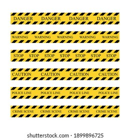 Warning tape stripe set. Police border yellow and black collection stripes. Barricade construction tape. Vector illustration isolated on white background