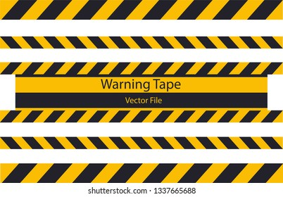 Warning Tape yellow and black vector file.