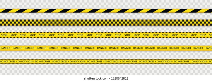 Warning tapes against threats. Black and yellow striped line. Police tape. Records with caution and signs of danger. Vector illustration, EPS 10.