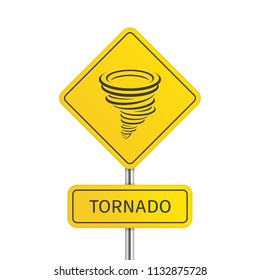 Warning tornado road sign. Tornado icon. Whirlwind storm sign isolated on white background. Typhoon in the linear flat style. Vector illustration EPS 10.