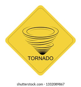 Warning tornado sign on yellow street plate, twister icon