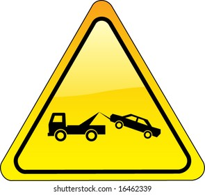 warning tow away zone sign - triangle version - also available as JPEG