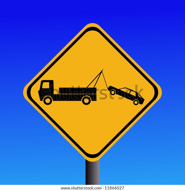 warning tow away zone sign on blue illustration