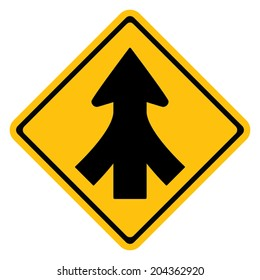 Warning traffic sign, Traffic merges from the left and right