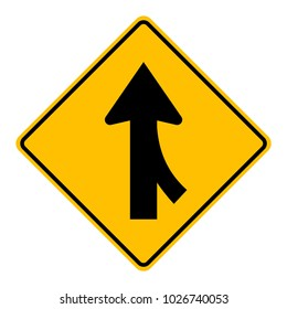 Warning traffic sign,Traffic merges from the right
