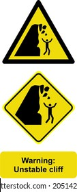 warning unstable cliff