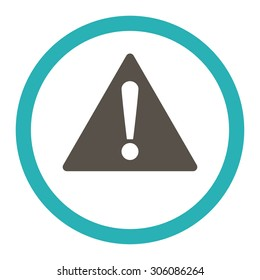 Warning vector icon. This rounded flat symbol is drawn with grey and cyan colors on a white background.