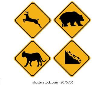 warning wildlife signs deer, bear, puma, falling rocks