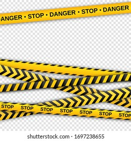 Warning yellow and black tapes on transparent background. Safety fencing ribbon. Vector illustration