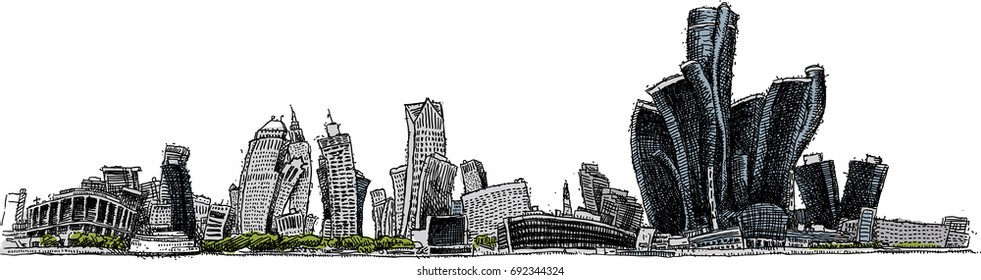 Warped cartoon skyline of the city of Detroit, Michigan, USA.