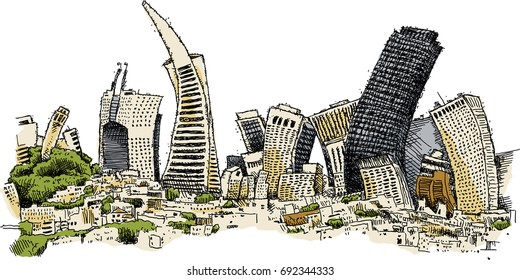 Warped cartoon skyline of the city of San Francisco, California, USA.