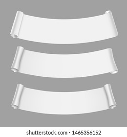 Warped Vector White Paper Scroll Banners