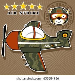 a warplane with cute pilot, vector cartoon illustration