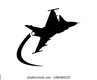Warplane flying and making an acrobation