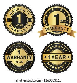Warranty 1 year label gold and black style