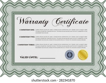 Warranty Certificate. Complex border design. It includes background. Vector illustration.