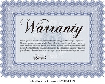 Warranty Certificate template. With background. Complex frame. Very Customizable.