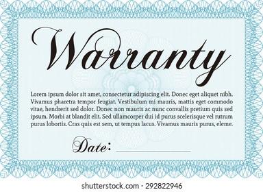 Warranty Certificate template. Retro design. Complex border. Easy to print.