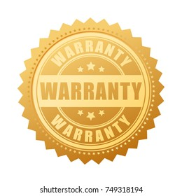 Warranty gold vector seal isolated on white background