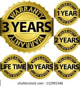 Warranty golden label set, vector illustration