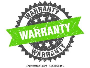 warranty grunge stamp with green band. warranty