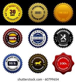 Warranty Guarantee Gold Seal Badge Vintage Award