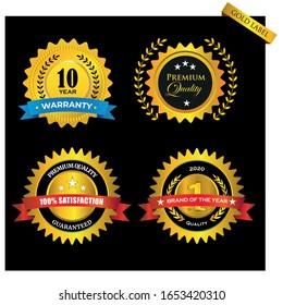 Warranty Guarantee Gold Seal Ribbon Vintage Award. Vector File