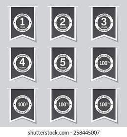 Warranty Guarantee Seal Label Vector Black Button Icon Design Set