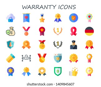 warranty icon set. 30 flat warranty icons.  Collection Of - security, badge, medal, quality, guarantee, medals, first, ribbon, germany, air mattress