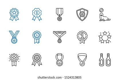 warranty icons set. Collection of warranty with additives, medal, badge, best, seal, badges. Editable and scalable warranty icons.
