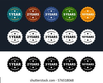 Warranty labels. 1, 2, 3, 5 and 10 years. Color and black and white variants. Vector illustration