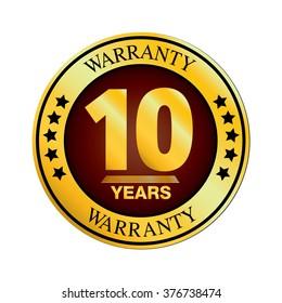 Warranty Logo Design. Ten Year Warranty Design isolated on white background.