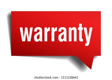 warranty red 3d square isolated speech bubble
