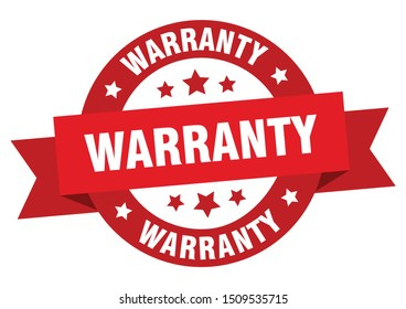 warranty ribbon. warranty round red sign. warranty